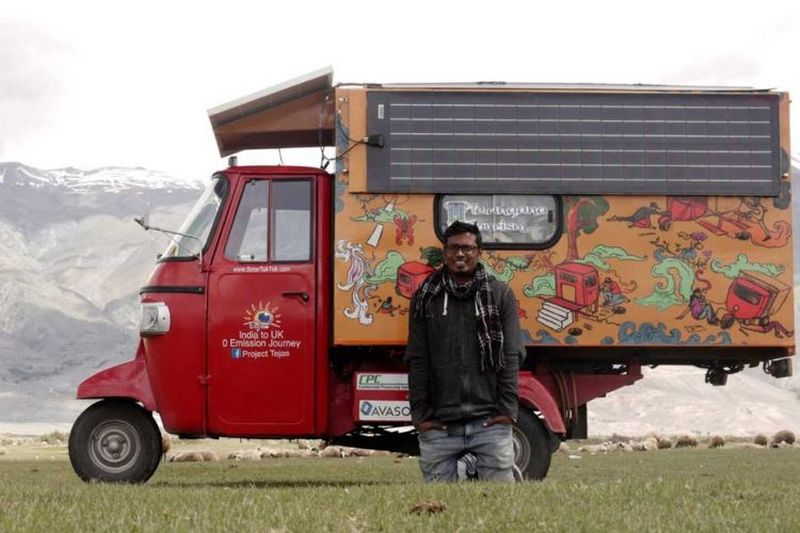 India to London in a solar-powered auto rickshaw-6