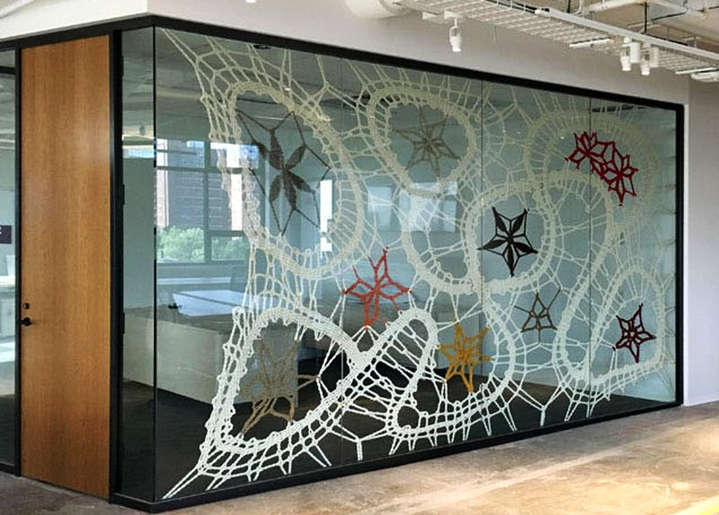 Rope lace artwork gets new home at Etsy HQ in New York