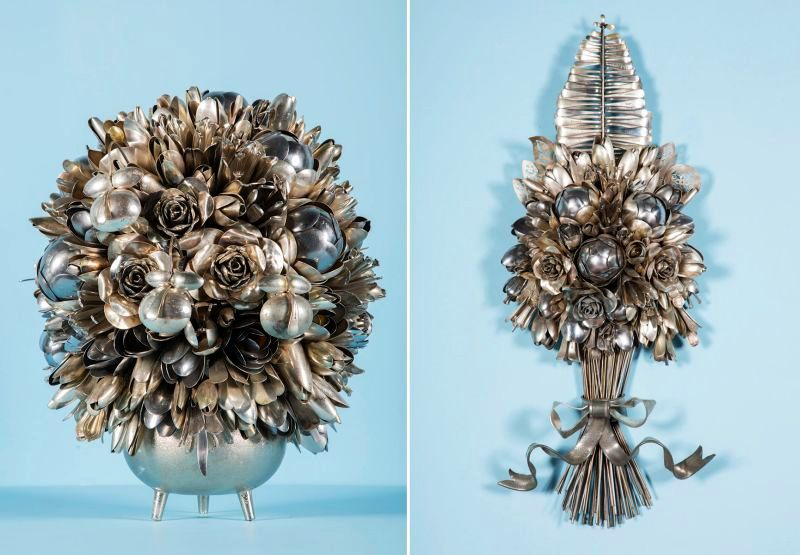 Artist turns spoons, forks, and knives into bouquets that never fade