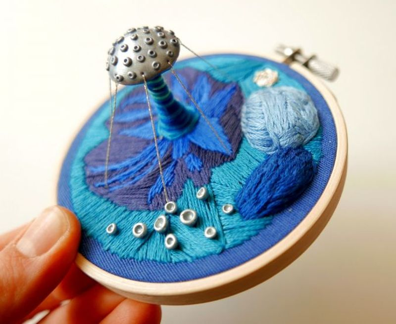 Hoop art: Wondrous 3D embroidery creations made with polymer clay