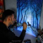 Italian artist's mystical glow-in-the-dark paintings come to life at night