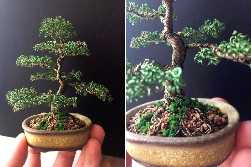 Metal Bonsai: Handmade miniature tree sculptures made out of wire