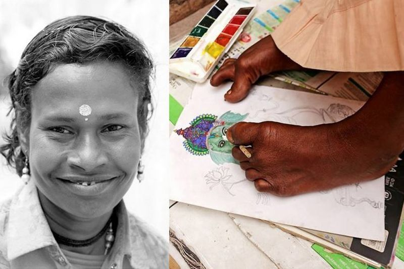 Once a beggar, this differently-abled woman now sells beautiful paintings