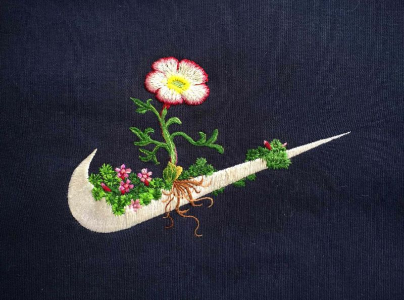 Artist transforms famous brand logos with floral embroidery