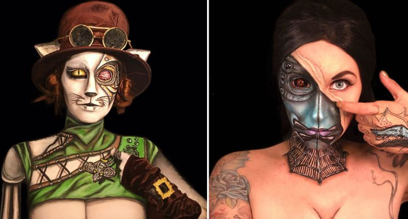 Artist spends 10-20 hours transforming herself into different characters