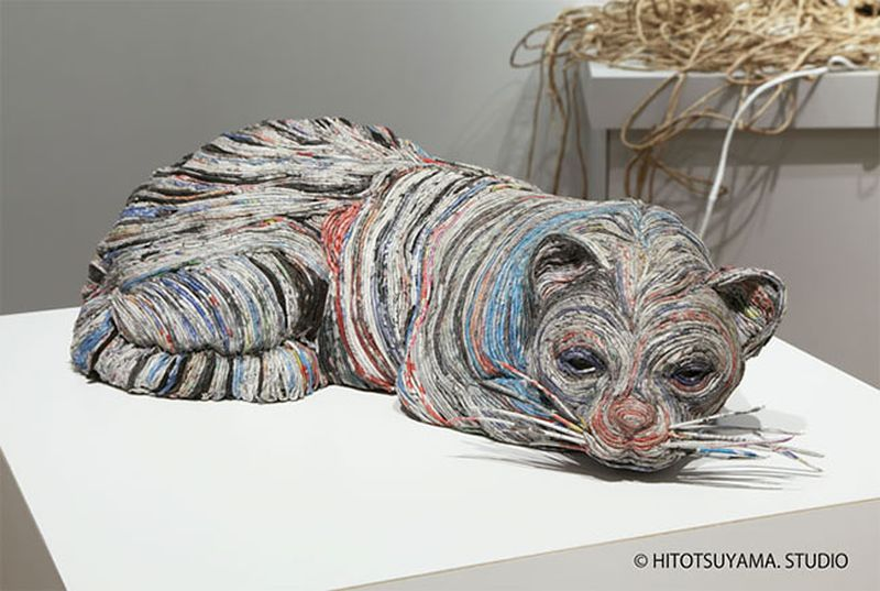 Newspaper Animal Sculpture by Chie Hitotsuyama