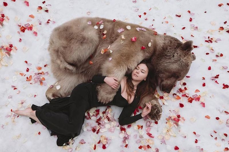 Russian photographer reimagines fairytale scenes with real animals