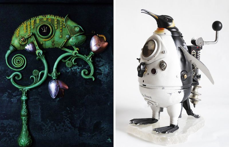 Incredible steampunk sculptures made from antiques and scrap metal