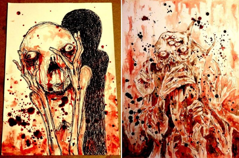 Artist Maxime Taccardi uses his own blood to paint masterpieces!