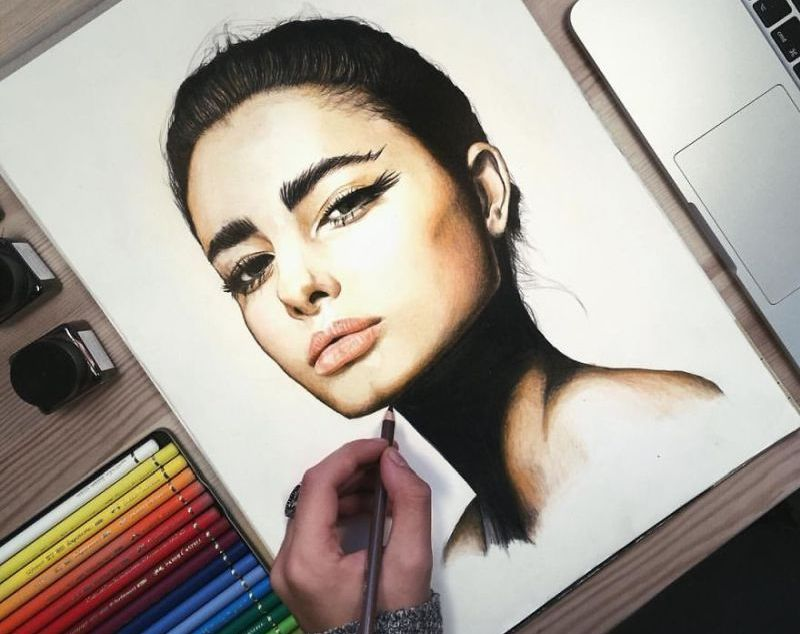 Taylor Hill drawn with coloured pencils