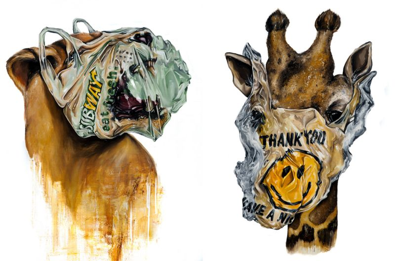These surreal animal paintings portray negative effects of plastic bags
