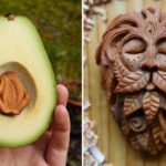 Irish artist carves avocado pits into tiny faces of forest spirits