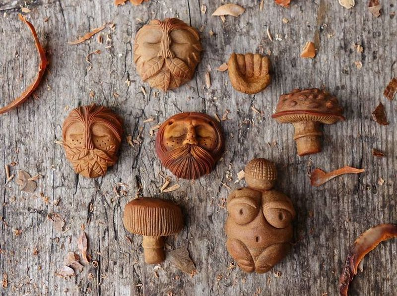 avocado stone faces by Jan Campbell