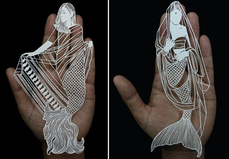 Artist portrays Indian women as mermaids through intricate paper art