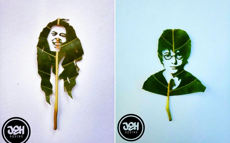 Leaf Art: Filipino artist turns green leaves into eye-catching human faces