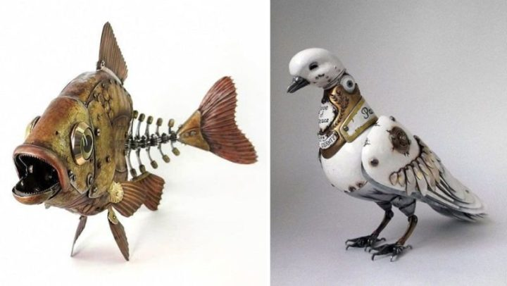 Steampunk animal sculptures made from recycled metal parts