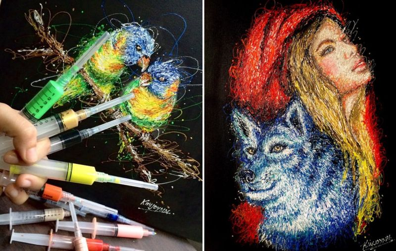 Inject Art: Filipino nurse creates beautiful paintings using a syringe