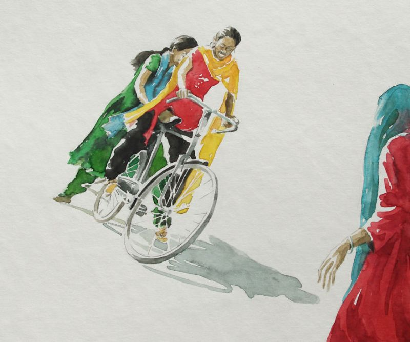 Berlin-based artist illustrates bicycle stories from India