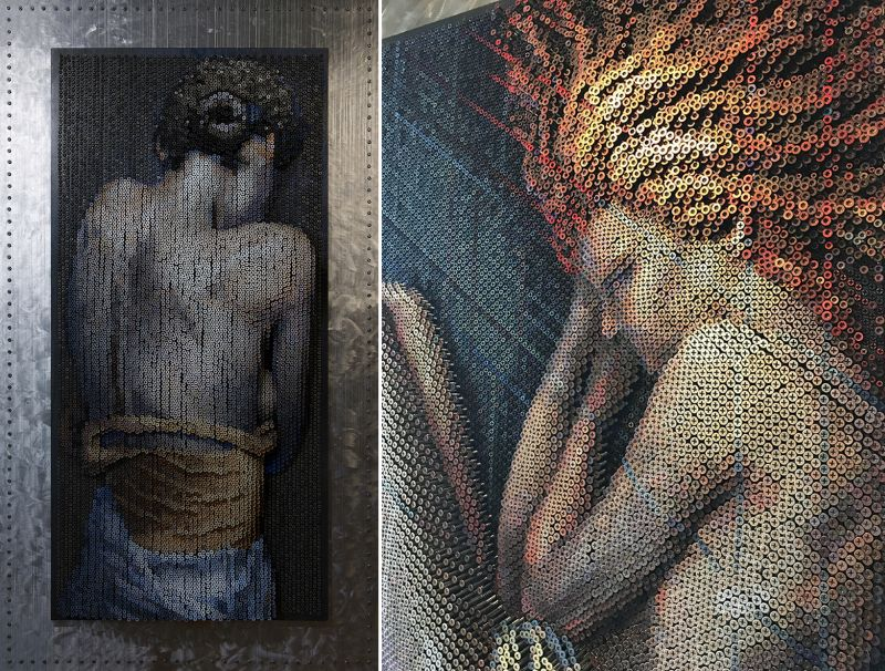 Stunning 3D portrait made by drilling over 20,000 screws into wood