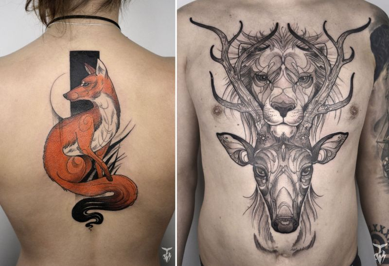Hungarian artist creates nature and art Nouveau inspired tattoos