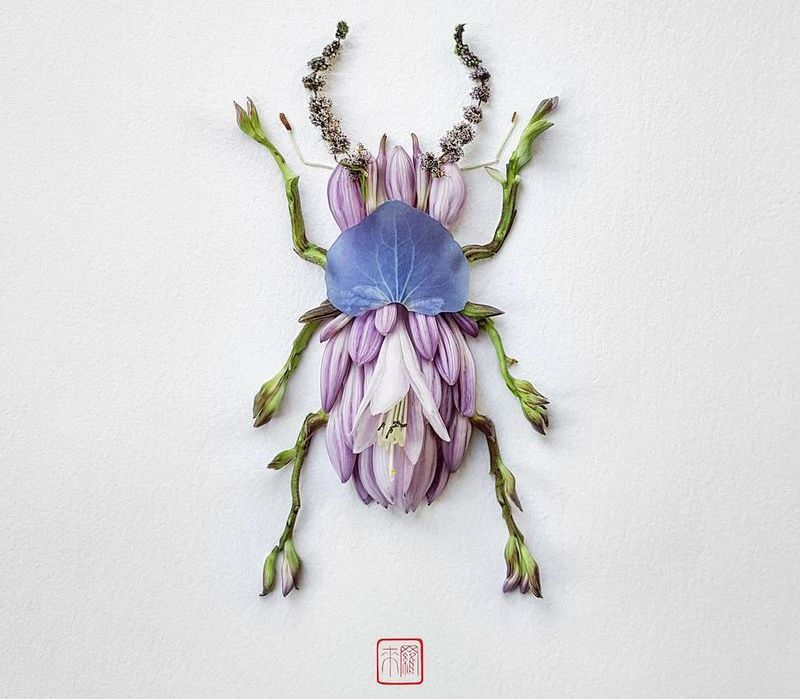 Raku Inoue turns variety of flowers and leaves into insect sculptures