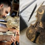 This artist illustrates biographies and stories on musical instruments