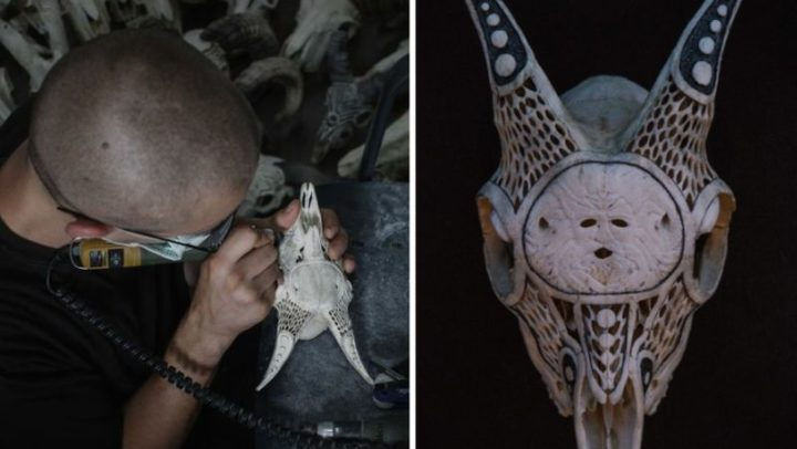 After being arrested for drugs, Victor changed his life by carving artistic skulls