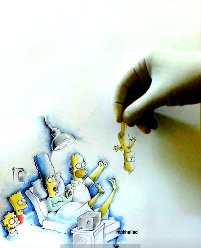 pharmacist combines his drawings with real life
