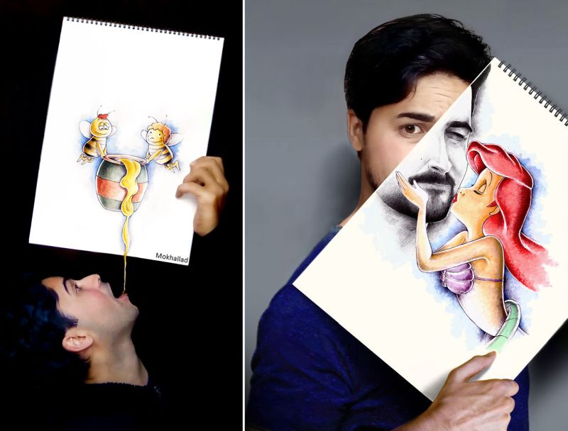Artistic pharmacist cleverly combines his drawings with real life