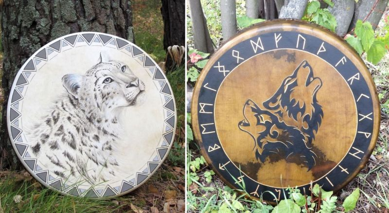 Husband-wife duo recreates ethnic Siberian drums featuring animal paintings
