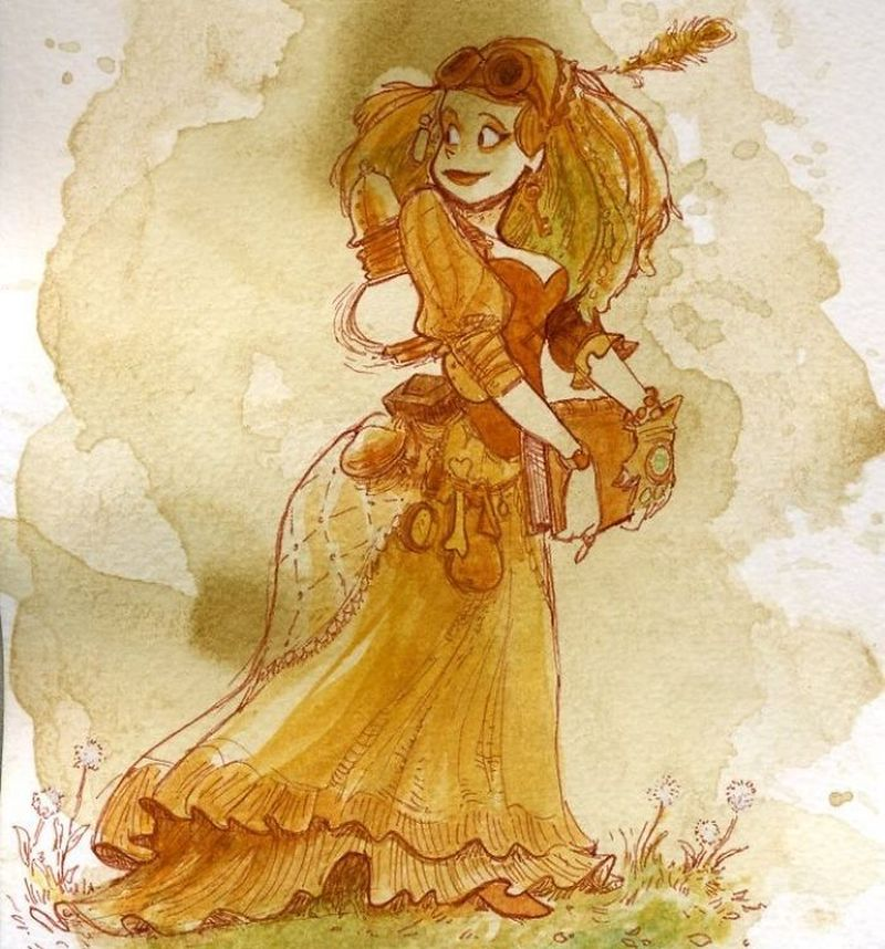 steampunk tea painting