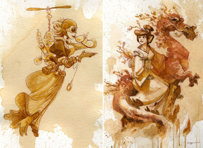 Artist swaps paint for tea to create stunning steampunk art