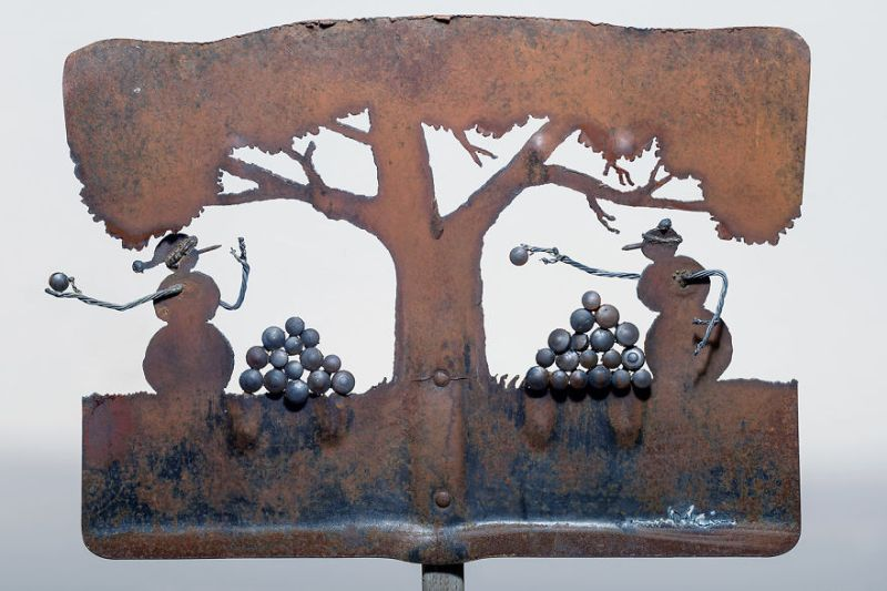 Metal Art with shovel by cindy chin