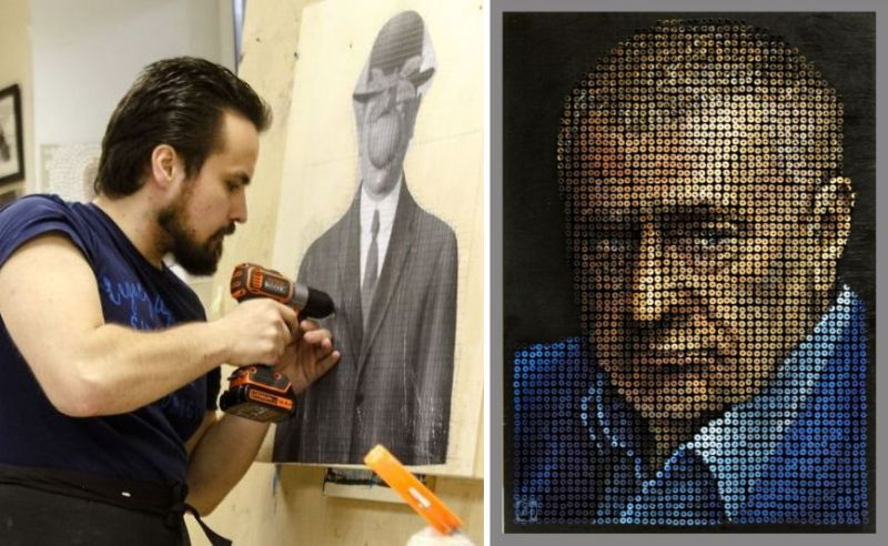Screw Art utilizes 'nuts and bolts' as paint to create riveting portraits