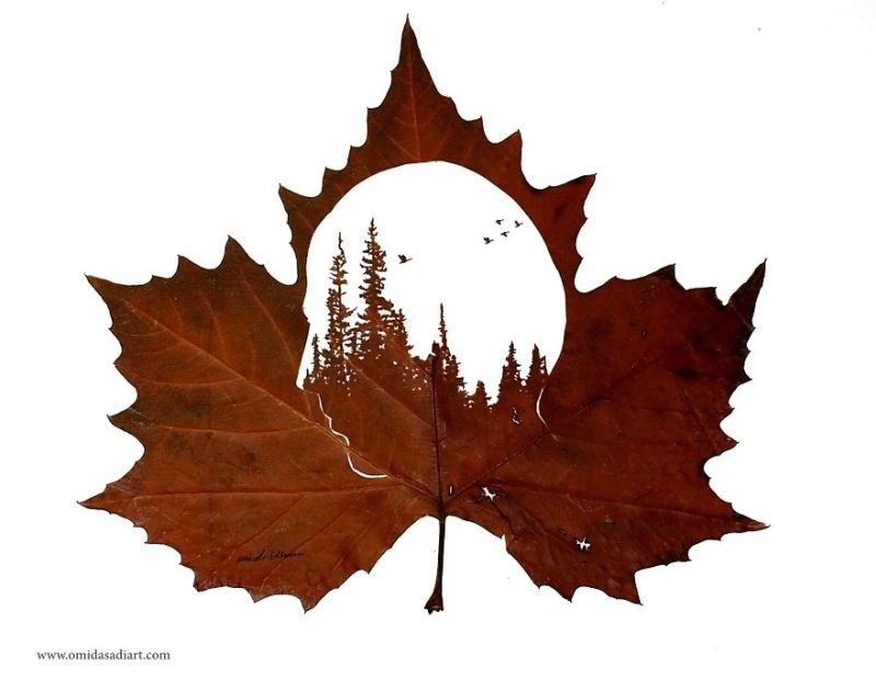 Former engineer and boxing champion creates intricate leaf art