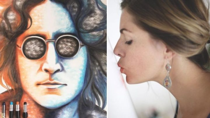 Meet Lipstick Lex… She creates art by planting kisses on a canvas!