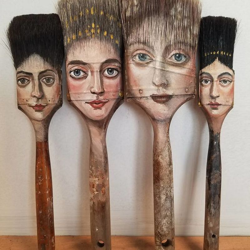 Portraits on worn out objects by Alexandra Dillon