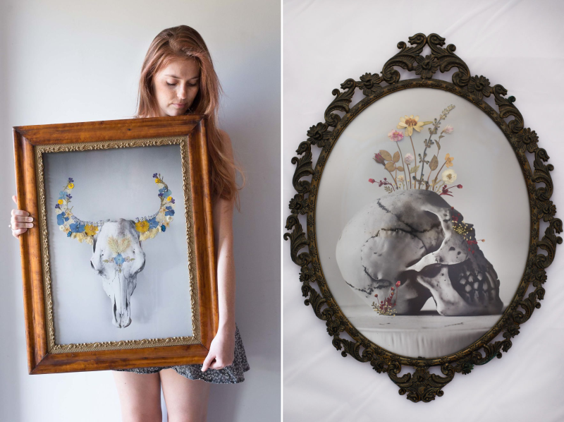 Real Pressed Flower Portraits in Recycled Vintage Frame by Phoebe Hofsteed