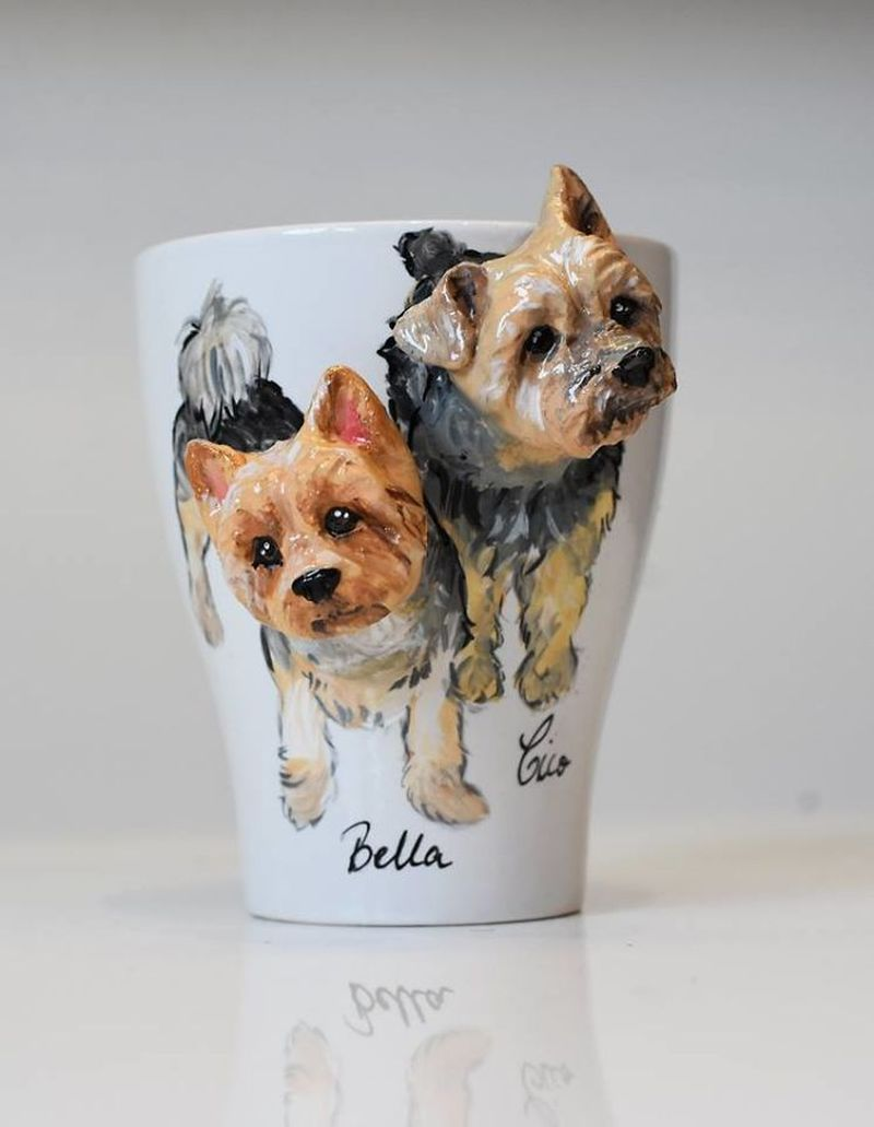 Camelia Rolea Creates Handmade 3D Sculptures of Pets on Mugs