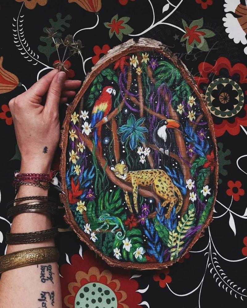 Wood Slice Paintings by Anna Kucharska