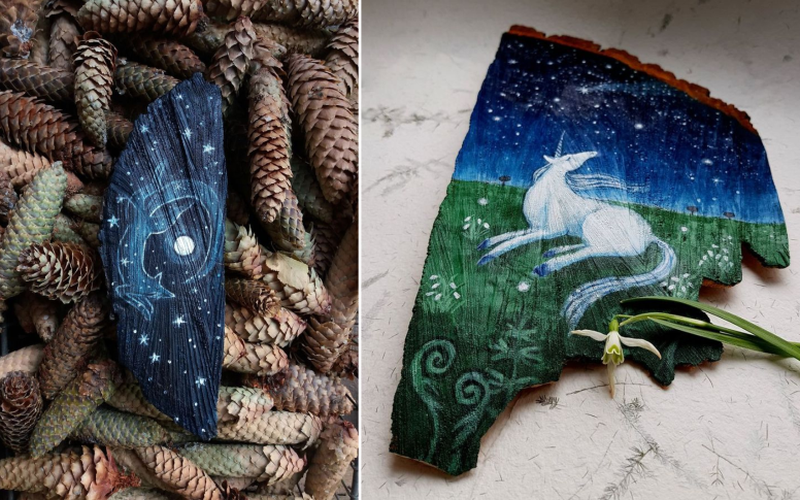 Artist Paints Whimsical Starry Scenes on Wood Pieces Found in Forests