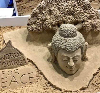 Sand Art: Sudarsan Pattnaik's Lord Buddha sculpture at World Travel Market