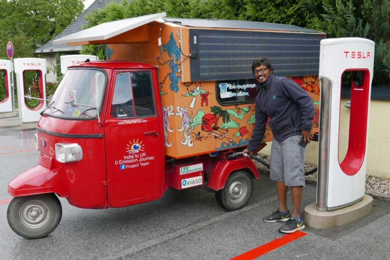 Epic journey from India to London in a solar-powered auto rickshaw