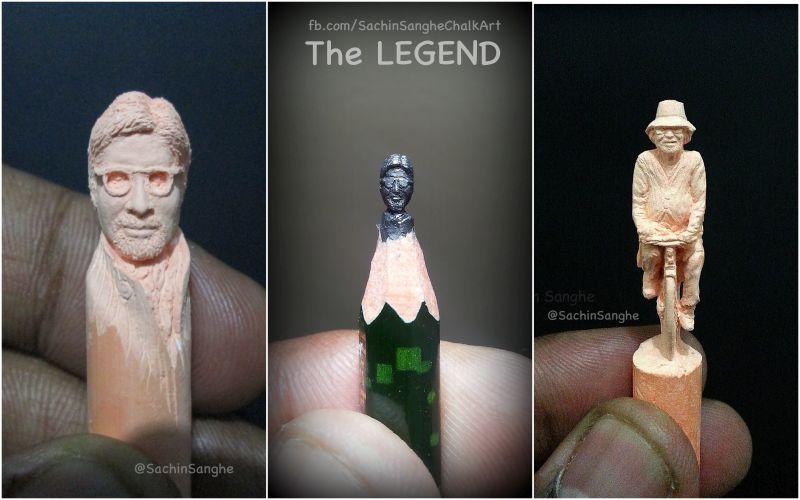 Micro-sculpture of Amitabh Bachchan