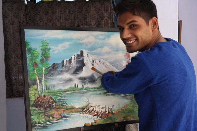 Dhaval Khatri has no hands, but can paint better than you!
