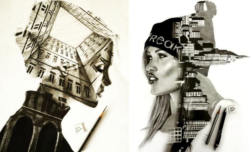 Self-taught artist merges human faces with architectural designs