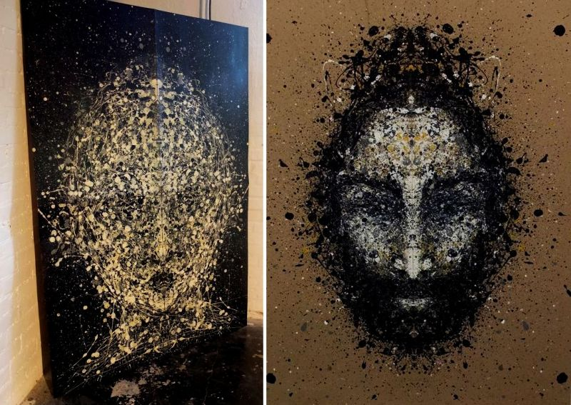 Artist creates these portraits by folding paper over hundred times