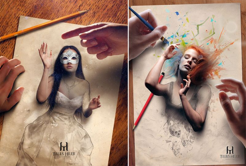 Mystic digital paintings by Tullius Heuer leap off the page