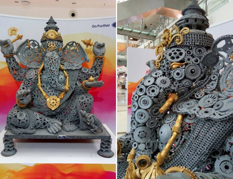 Indian artist creates Ganesha sculpture from 500 kg recycled car parts