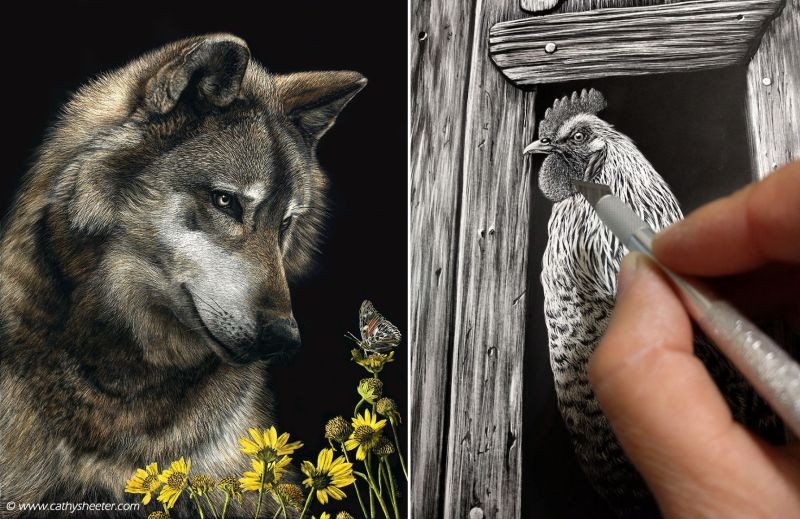 This artist portrays beauty of wildlife with hyper-realistic scratchboard art